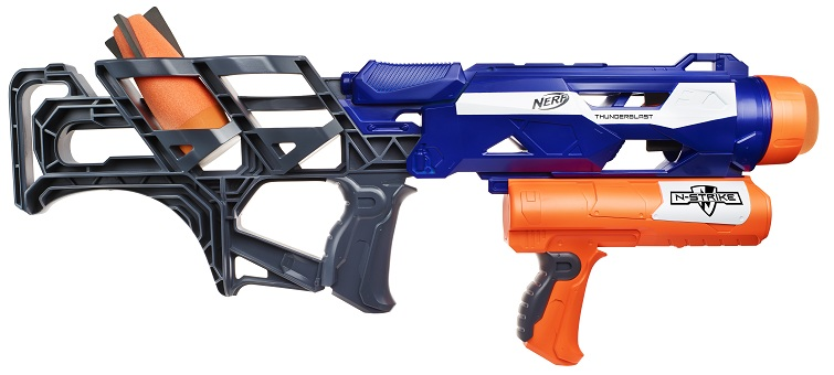 This grenade launcher able to shoot paint grenades, 6mm paintballs, .43  caliber paintballs, .68 caliber paintballs, and Nerf Rockets more than 200  feet.