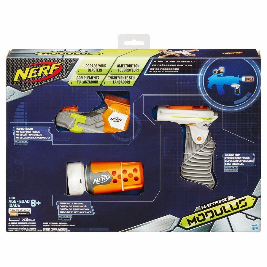 Here is the new Nerf Modulus Stealth Ops Upgrade Kit. The attachments  include a folding grip, a red dot sight, and a proximity barrel. Awesome.
