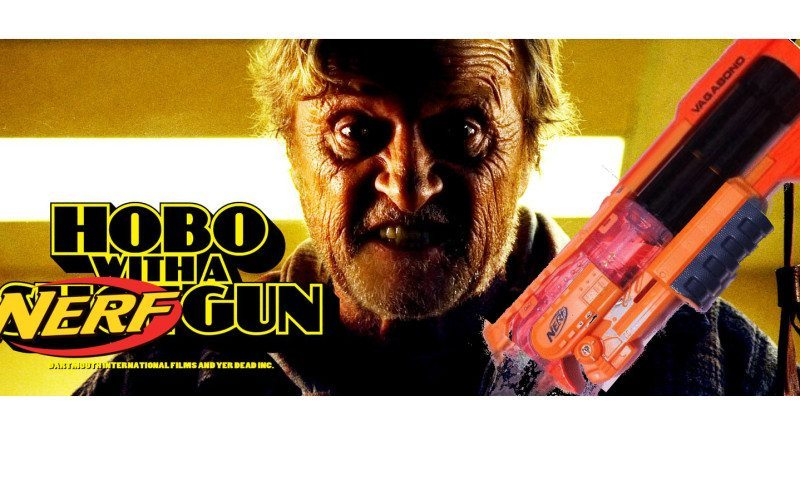 nerf vagabond hobo with a nerf gun