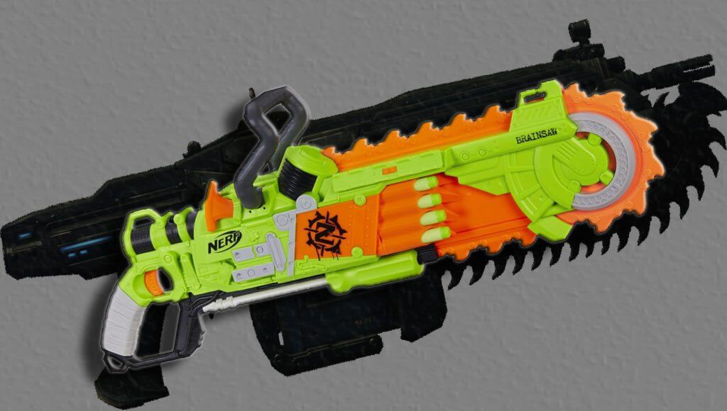 nerf brainsaw meets gears of war lancer